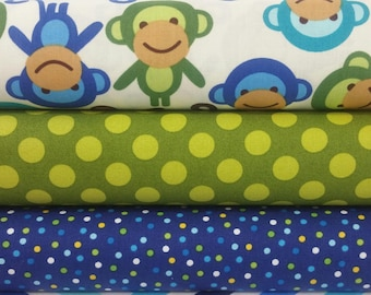 Lagoon Monkey Bundle from Robert Kaufman's Urban Zoologie Bundle - 3 Fabrics