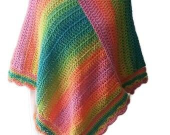 Sherbert Poncho, Summer Poncho, Boho Chic, Gift for Her, Crochet Poncho, Women Poncho, Colorful Poncho, Stylish Poncho, Women Accessory