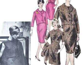 1960s RONALD PATERSON VOGUE Couturier 1198 suit blouse skirt jacket Vintage Paper Pattern Size 12 Bust 31 32 33 60s