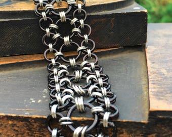 Statement Bracelet, Silver and Black Bracelet, Circle Bracelet, Chainmaille Bracelet, Black Cuff, Black and Silver Maru Bracelet