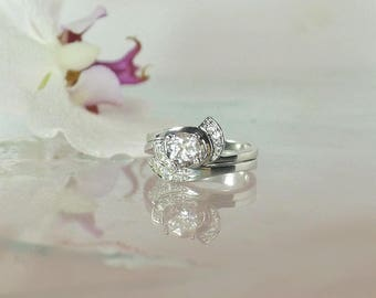 Topaz Wedding Set, White Topaz Wedding Set, Topaz Engagement Ring, Engagment Ring, Unique Wedding Set, Gemstone Wedding Set, Topaz Ring