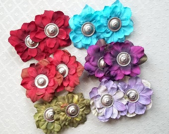 Tribal Button Mini Flower Clips - 14+ Colors/Styles