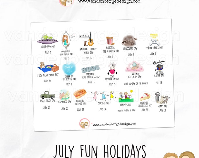 Planner Stickers - July Fun Holidays - Perfect for all planners! Wacky Holidays