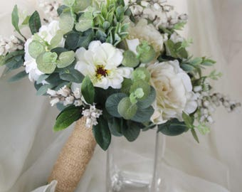Green, cream, white wedding bouquet. Cottage garden bouquet, eucalyptus, roses, zinnia to look gathered from the garden.  Silk flowers.