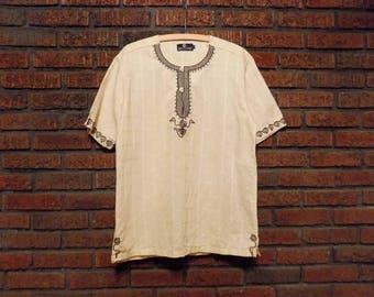 Vintage Duca Grimaldi Embroidered Linen Tunic Men's L