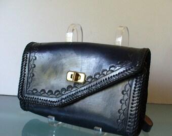 Vintage Dark Blue Tooled Leather Shoulder Bag