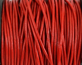 1.5mm Red Leather Cord Round