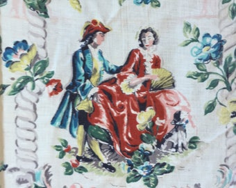 Vintage Chintz 1940's 50's Fabric Novelty Print