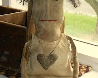 Primitive  Little Rag Doll ~ vintage fabrics - ready to ship