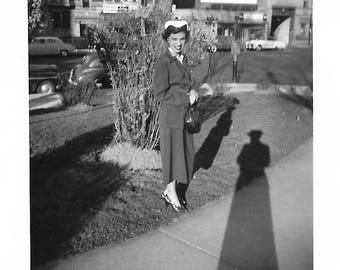 "Vintage Snapshot ""Cast A Long Shadow"" Elongated Photographer Shadow Pretty Girl Mid-Century Found Vernacular Photo"