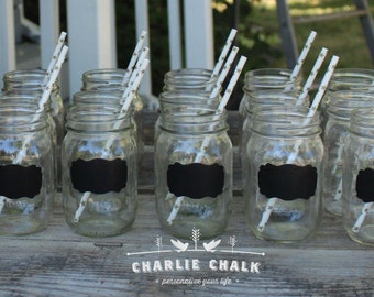 Chalkboard Wedding Favors,100 NON Toxic Chalkboard Labels for Mason Jar Wedding Favors,Mason Jars NOT included, Rustic Wedding decorations
