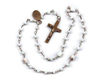 Vintage Sacred Heart or The Crown of Our Lord  Camaldolese bead rosary with Sacred Heart/Imacculate  Heart medal