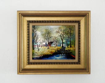 Betty Chou Enamel on Copper Landscape Painting in original gold frame, signed by listed artist, home decor, beautiful view, New England