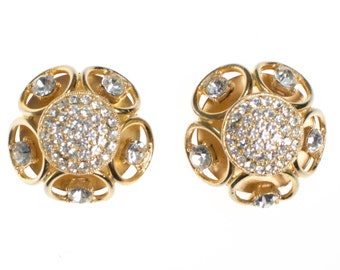 Vintage Gold Dome Scroll Crystal Rhinestone Statement Earrings