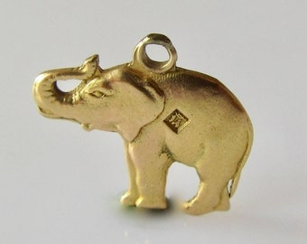 18ct Gold Elephant Trunk Up Charm or Pendant