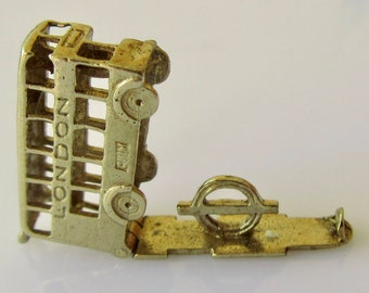 9ct Gold London Bus CHIM Charm Opens to London Transport Sign