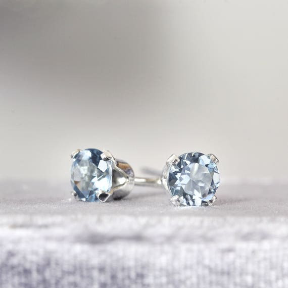 Aquamarine Stud Earrings - Silver Stud Earrings