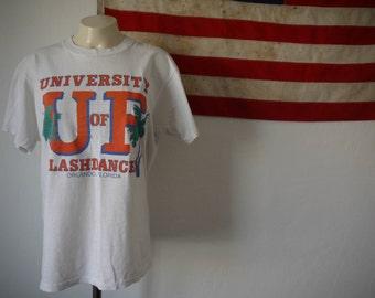 University Of Flashdance Tshirt / University of Florida tshirt / Rare flashdance tshirt / white see through tshirt / Super soft naughty tee