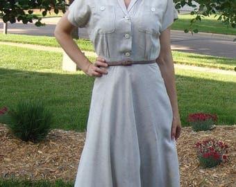 VINTAGE late 1940's RAYON SHIRTDRESS 24.5 waist