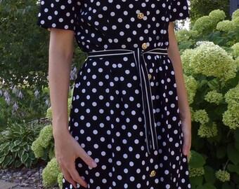80's does 40's POLKA DOT DRESS lady leslie fay pattern mixing M