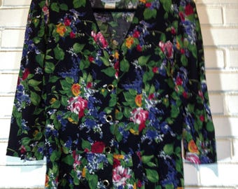 80's roses on black rayon button front dress size 13
