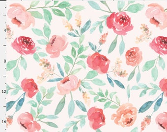 Elliott - Watercolor Floral - Baby Girl Cotton Minky Crib Sheet Changing Pad Cover - Woodland Boho nursery flowers mint coral navy white