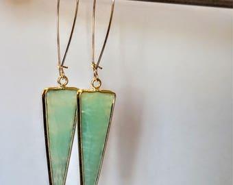 Triangle amazonite briolette silver drop earrings