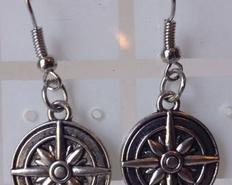 Nautical Compass Rose Silver Earrings
