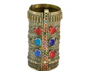 Vintage Afghan Kuchi Tribal Jewelry - Brass, Glass Stone, Rhinestone, Cuff Bracelet - Ethnic Jewelry