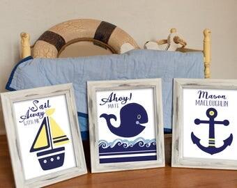 BOYS NAUTICAL NURSERY, Sets of 3, Baby Whale nursery, Navy Hamptons bedding, kids nautical bathroom decor, 8x10 wall art prints personalized