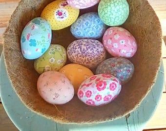 One Dozen Sewn Cloth Easter Eggs