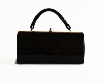 vintage black patent kelly bag 1950s 1960s