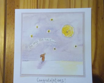 Watercolour congratulations card, painted moon rabbit graduation greetings, handmade animal celebration card, sky's the limit bunny, hare