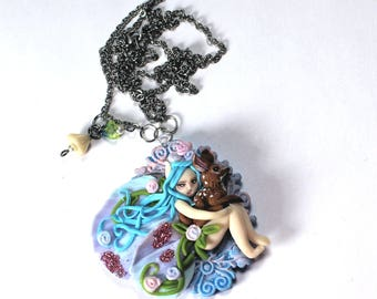 Blue Tinkerbell Necklace Jewelry Polymer Clay Deer Fawn