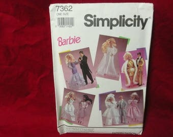 Simplicity Sewing Pattern 7362, Barbie Clothes Waredrobe