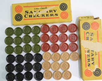 1920's Pre World War 2 Swastika Sanitary Checkers by GH Harris - Green and Ivory set or Red and Black set - Bakelite, Good luck