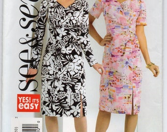 Semi Fitted Dress Left Front Slit Opening Back Zipper Plus Size 14 16 18 20 Sewing Pattern 2005 See And Sew Butterick 4638