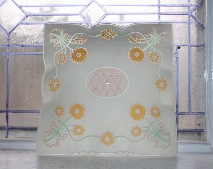 Mid Century Ceiling Light Shade Square with Floral Decoration