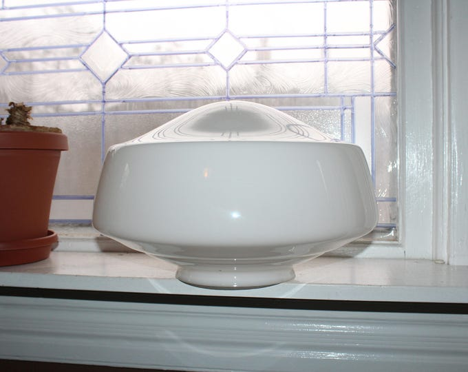 "Vintage Milk Glass Schoolhouse Light Fixture Globe 13"""