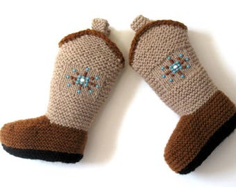 Knitted Beaded Wyoming Cowboy Boot Booties
