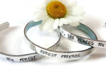 Silver Cuff Bracelet -HER FOREST bracelet -  Lightweight and set of 3 - Forest friends - oh the places you ll go - ready to ship