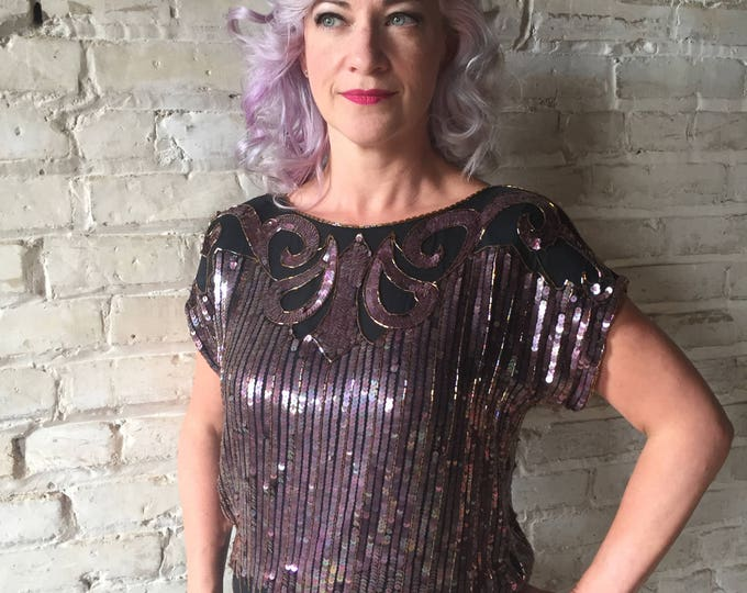 Vintage 1980's Rina Z. Art Deco Sequin and Bead Silk Top - World's Largest Disco - Iridescent Purple Sequins on Black Crinkle Silk - S/M