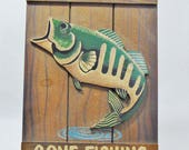 1990s, Tender Heart Treasures, Tender Heart, Gone Fishing Sign, Gone Fishing, Fishing, Fishing Gifts For Men, Fishing Gift, Fishing Decor