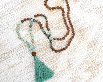 Amazonite Pyrite Rudraksha Mala, Mala Beads, Mala Necklace, 108 Mala Beads, Prayer Beads, Mala Beads 108, Blue Mala Beads Amazonite Necklace