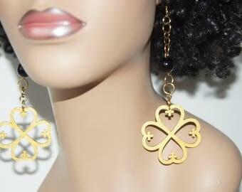 Wood Dangle Earrings-Nyame Dua