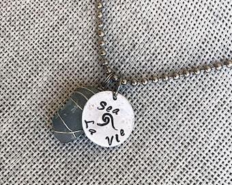 Sea La Vie Sea Glass Necklace / Sea La Vie Necklace / Wire Wrapped Sea Glass Necklace / Hand Stamped Necklace