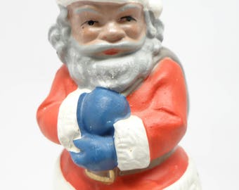 Antique German Santa for Christmas, Vintage Hand Painted Composite, Made in Germany