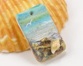 StudioStJames Handcrafted Polymer Clay 20x30mm Small Focal-Ocean Beach Scene with Seashells-Aqua Blue Bead-PA 100612
