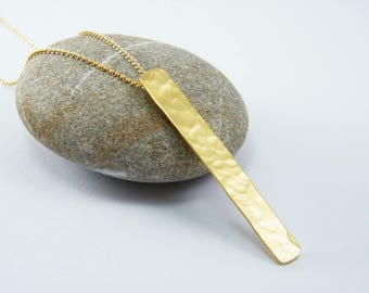 Gold bar necklace gold rectangle pendant hammered bar necklace Rectangle bar necklace gold dainty bar necklace