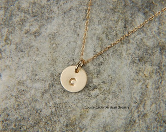 Gold Initial Necklace 7 mm Solid Gold Necklace 14K Gold Disc Necklace Dainty Gold Necklace Personalized Necklace Gold